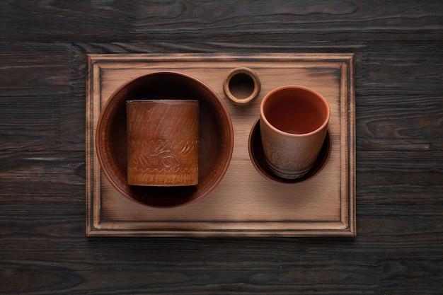 Vue de dessus des ustensiles de cuisine en céramique