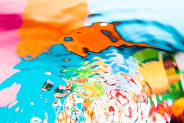 Vue de dessus des vagues d'eau multicolores