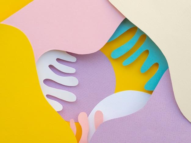 Vue de dessus des vagues de papier abstraites