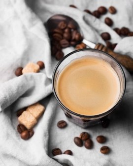 Vue de dessus verre de café