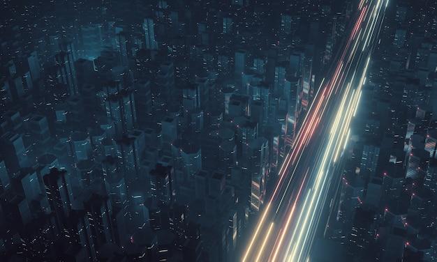 Vue de dessus de la voie haute la nuit avec fond de ville