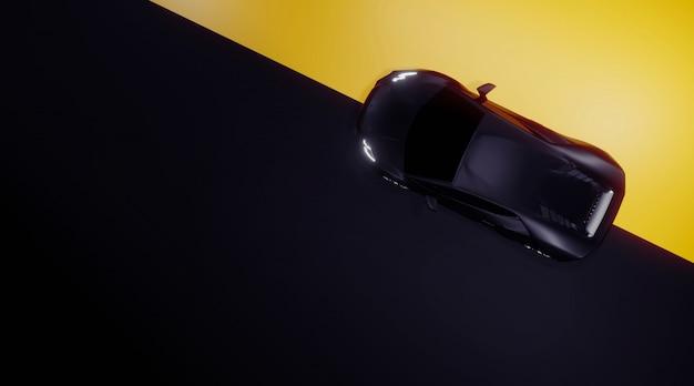 Vue de dessus de voiture de sport sur noir et jaune, rendu 3d