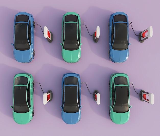 Vue de dessus des voitures électriques en charge