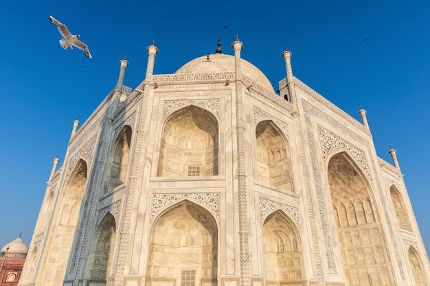 Vue détaillée de la façade en marbre du taj mahal, inde, agra.