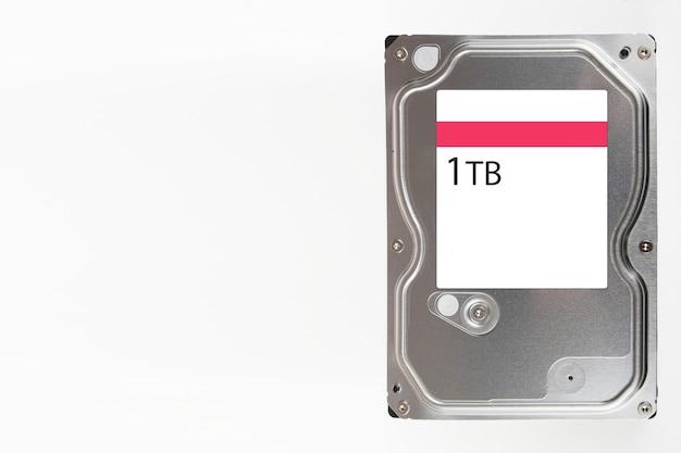 Vue directement au-dessus du matériel du mécanisme du disque dur de l'ordinateur.