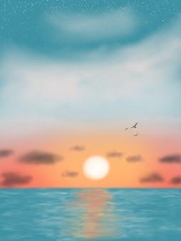Vue du beau fond d'écran mer coucher de soleil premium