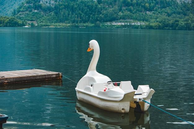 Vue du catamaran dans le lac en forme de cygne dans l'espace de copie des montagnes alpines