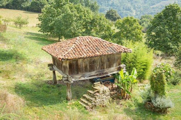 Vue du grenier typique des asturies, en espagne, élevé par des piliers en pierre et connu sous le nom de