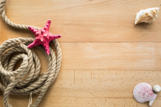 Vue du haut sur la corde, les coquillages et les étoiles de mer rouges allongées sur des planches de bois