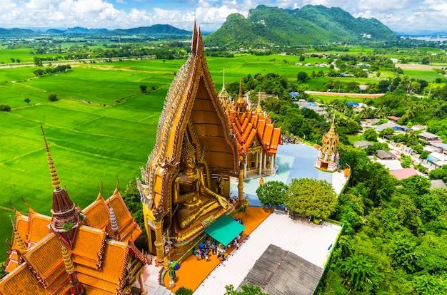 Une vue du haut de la pagode, statue de bouddha doré avec des rizières et de la montagne