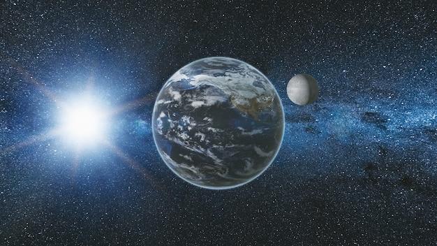 Vue du lever du soleil depuis l'espace sur la planète terre et la lune en rotation dans l'espace