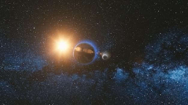 Vue du lever du soleil depuis l'espace sur la planète terre et la lune tournant dans l'espace bleu ciel voie lactée avec mille