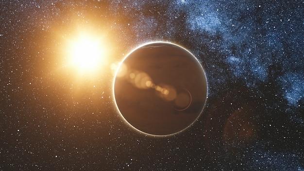 Vue du lever du soleil sur mars dans les rayons du soleil depuis l'espace