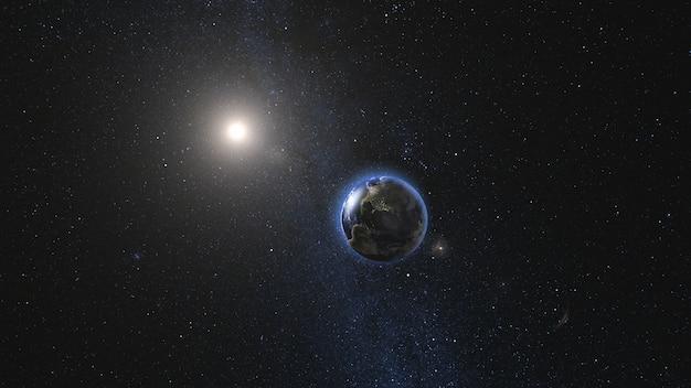Vue du lever du soleil sur le satellite planète terre et lune