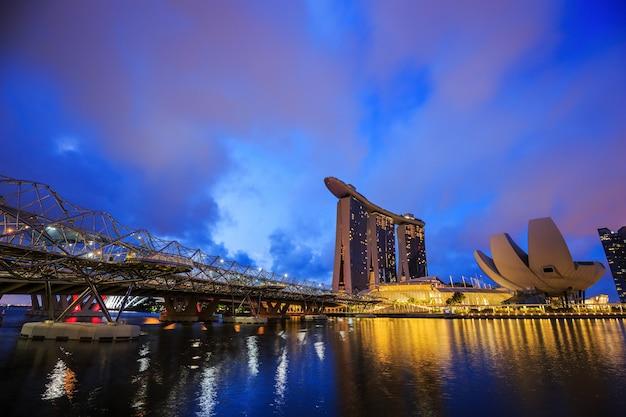 Vue du paysage urbain de singapour ville sy nuit