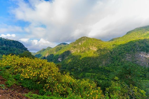 Vue du point de vue de sui thang à la montagne angkhang
