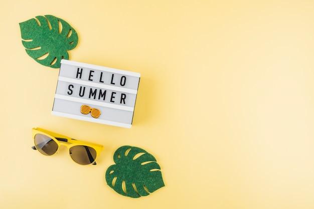 Une vue en élévation de feuilles de monstera artificielles vertes; lunettes de soleil près de la boîte à lumière hello summer sur fond coloré