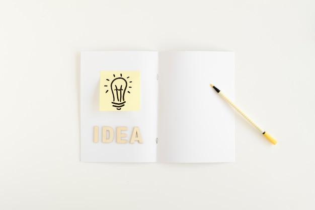 Vue élevée de l'ampoule avec le texte de l'idée sur la carte