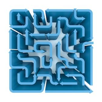 Une vue élevée du labyrinthe des flèches bleues. rendu 3d