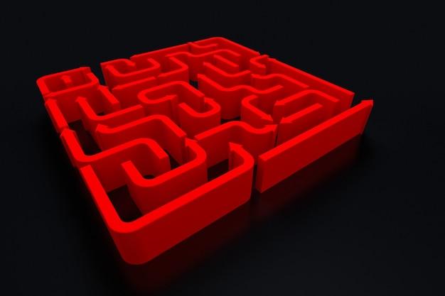 Une vue élevée du labyrinthe des flèches rouges. rendu 3d