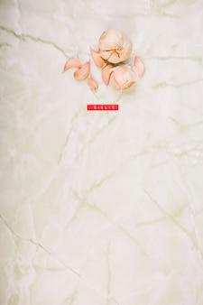 Vue élevée de gousse d'ail fraîche sur le marbre