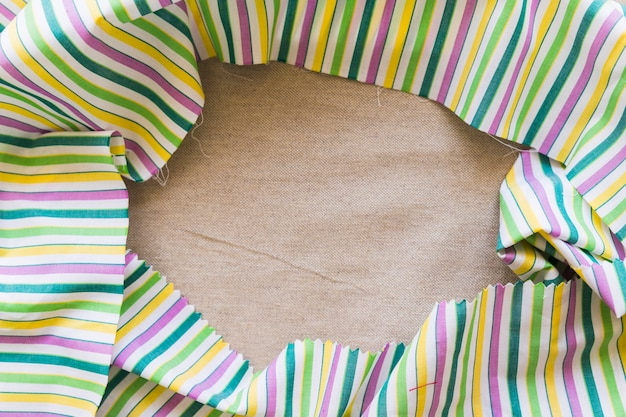 Vue élevée, de, lin coloré, textile, formant, cadre