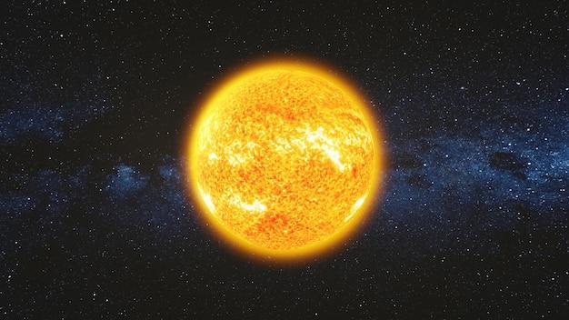 Vue de l'espace sur la surface lumineuse du soleil avec des éruptions solaires