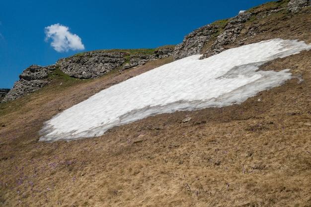 Vue d'été avec la neige dans les monts bucegi, parc national de bucegi, journée ensoleillée, ciel dégagé avec quelques nuages