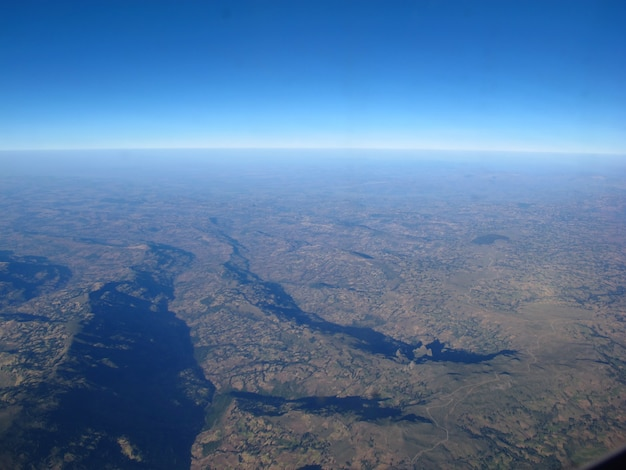 La vue sur l'éthiopie depuis l'avion