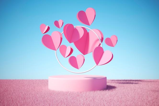 Vue de face de beaucoup de coeurs roses avec podium rond