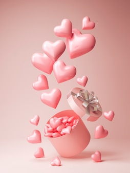Vue de face de beaucoup de coeurs roses sortant d'une boîte cadeau