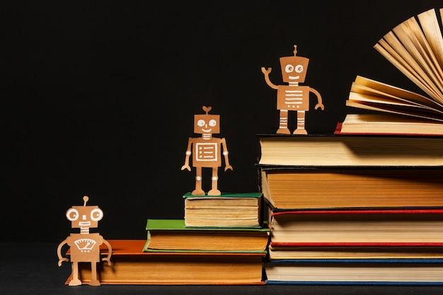 Vue de face belle composition de différents livres
