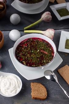 Une vue de face bortsch rouge salé poivré avec des légumes et des miches de pain à l'intérieur de la plaque blanche repas liquide soupe sur le fond gris