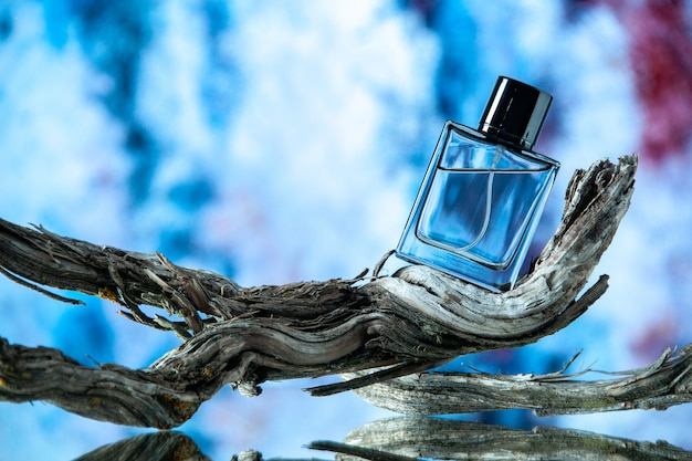 Vue de face de la bouteille d'eau de cologne sur une branche d'arbre pourrie sur fond abstrait bleu