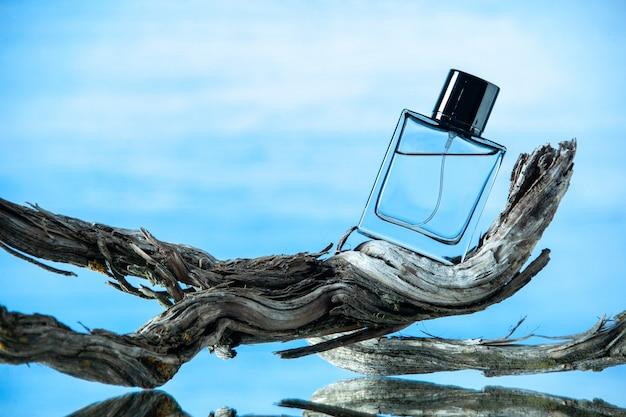 Vue de face de la bouteille d'eau de cologne sur une branche d'arbre pourrie isolée sur fond bleu clair