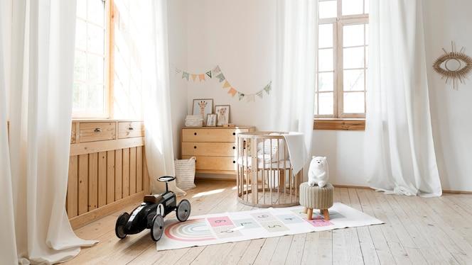 Vue de face de la chambre d'enfant avec un design intérieur rustique