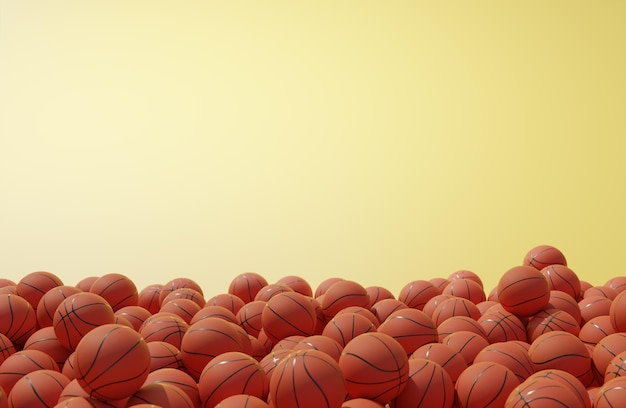 Vue de face de la composition avec des ballons de basket