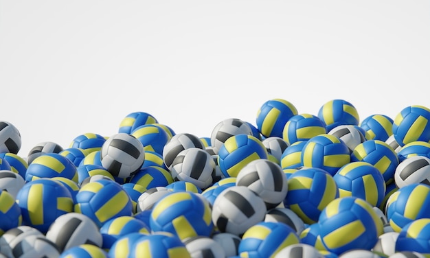 Vue de face de la composition avec des ballons de volley-ball