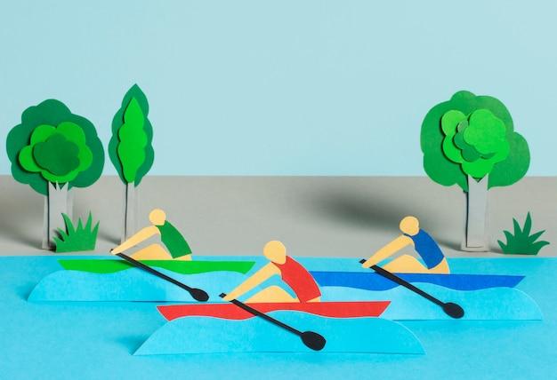 Vue de face de la composition des formes olympiques de style papier