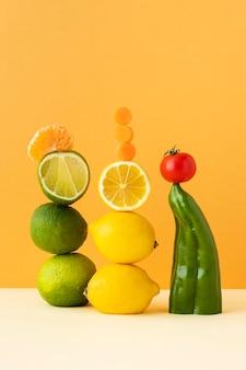 Vue de face de la composition de la nourriture végétarienne saine
