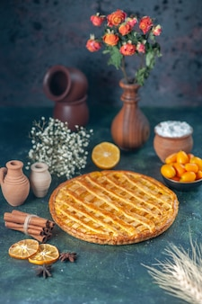 Vue de face délicieuse tarte kumquat sur fond bleu foncé