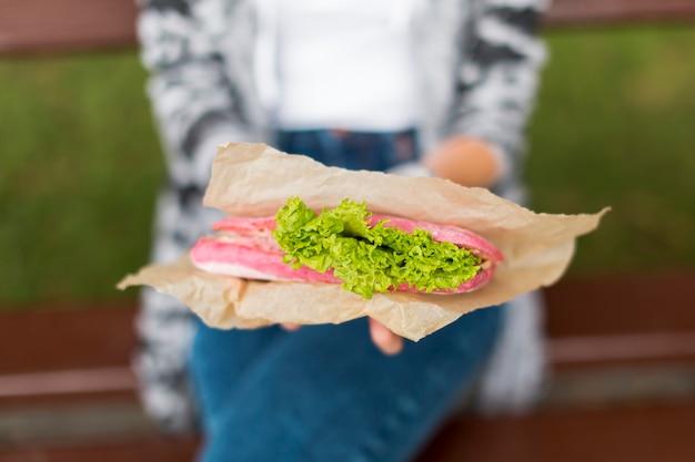 Vue de face délicieux sandwich à emporter