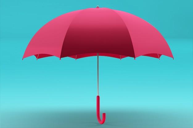 Vue de face et de dessus du parapluie de rendu 3d