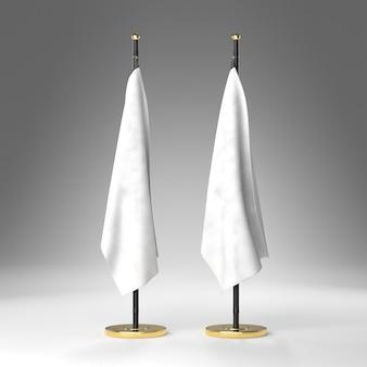 Vue de face de deux drapeaux blancs avec piédestal