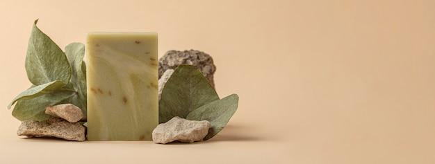 Vue de face de la disposition du savon et des plantes spéciales avec espace de copie