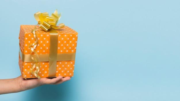 Vue de face du cadeau tenu à la main