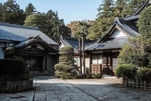 Vue de face du complexe de temples japonais