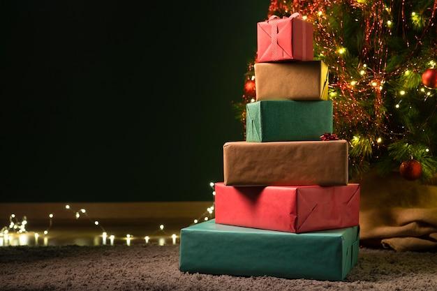 Vue de face du concept de cadeau de noël