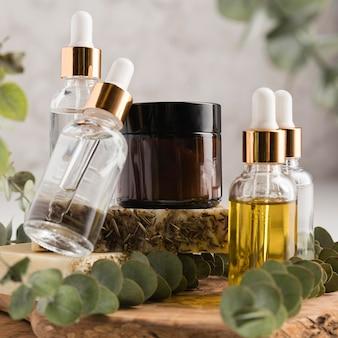 Vue de face du concept de cosmétiques naturels