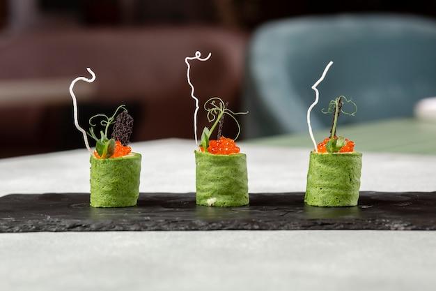 Vue de face du concept de cuisine gastronomique